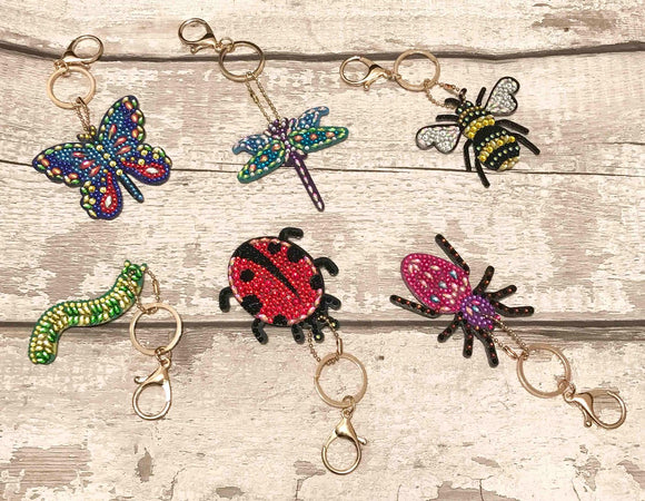 "Set of 6 Crystal Art Keyring Keychains ""Amazing Insects"
