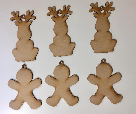 XMD16: Craft Buddy Coordinating MDF Ornaments: Jolly Reindeer