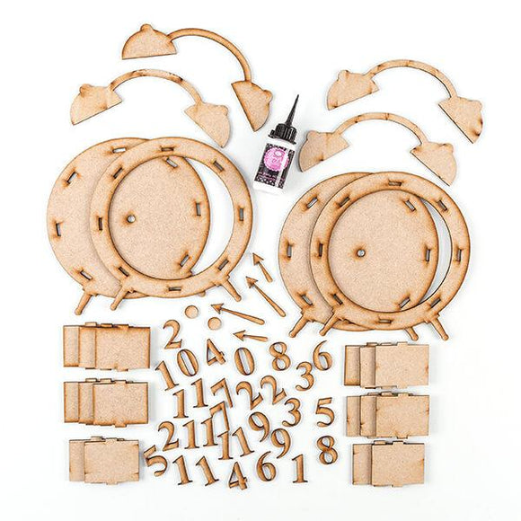 Pretty Gets Gritty - 2 x MDF Alarm Clock Sets