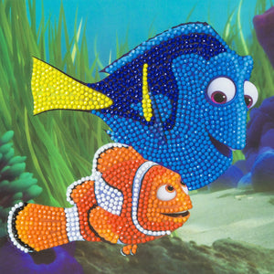CCK-DNY800: Dory and Marlin, 18x18cm Crystal Art Card