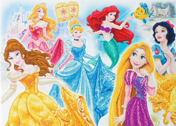 CAK-DNY708XL: Disney Princess Medley, 90x65cm Crystal Art Kit