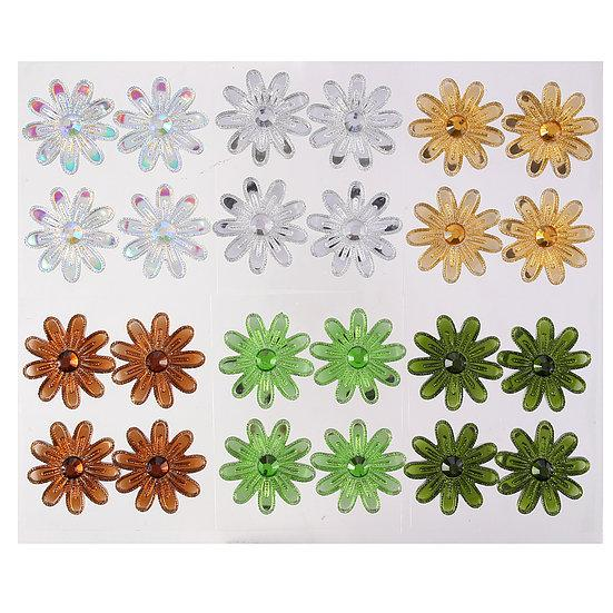 DBG03 Set of 4 Crystal Flowers - 6 colors to choose from