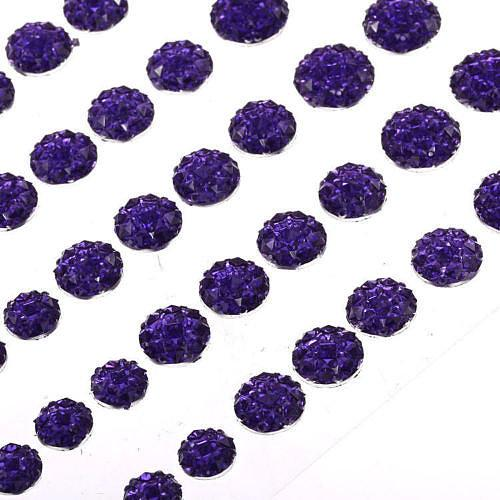 CB070 PURPLE - 50 Self Adhesive Crystal Diamante Rhinestone Moon Rocks