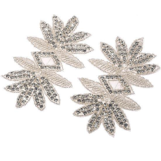 2 x Crystal Beaded Applique Motif (DM13)