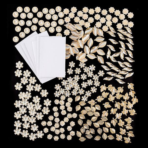 270 Gold Edged Pearl Embellishments with Adhesive Circles
