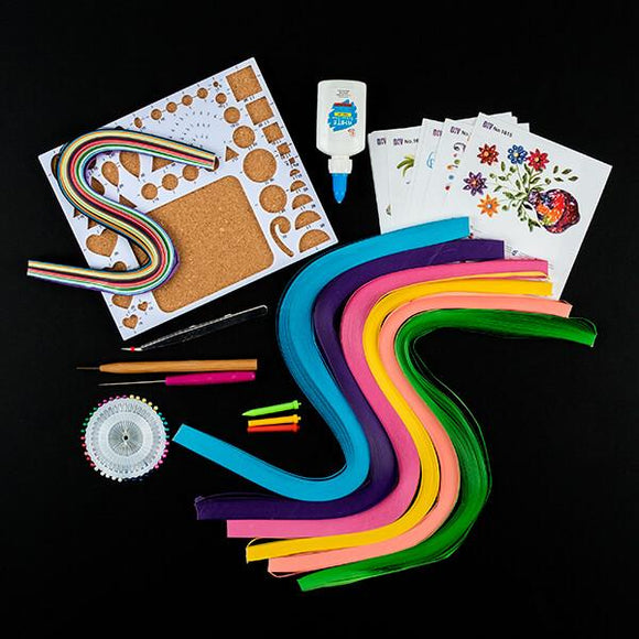 Quilling Kit - Inc Shaping Board, Quilling Tool, Glue, Tweezers, Pins, Pokey Tools & Papers
