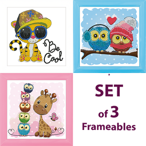 CAFBL-SET3: Set of 3 (CAFBL-7 + CAFBL-8 + CAFBL-9) Frameables Crystal Art