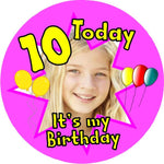 10 year old photo frame badge 100mm