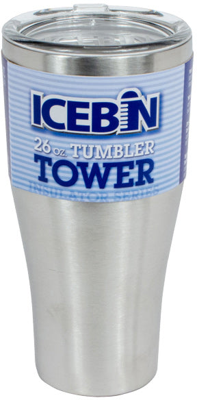 ICEBIN 26 OUNCE HIGH-PERFORMANCE TUMBLER. MADE OF STAINLESS STEEL WITH A CLEAR PLASTIC LID. - Quality Farm Supply