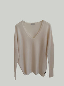 PRETORIA ecru V-neck sweater-PIANORI