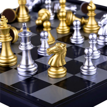 Pikibuy™ Chess Board Game Set with Magnetic Gold and Silver Pieces