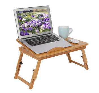Wooden Lap Desk with Storage & Cooling Fan Laptop Table for Bed and Couch