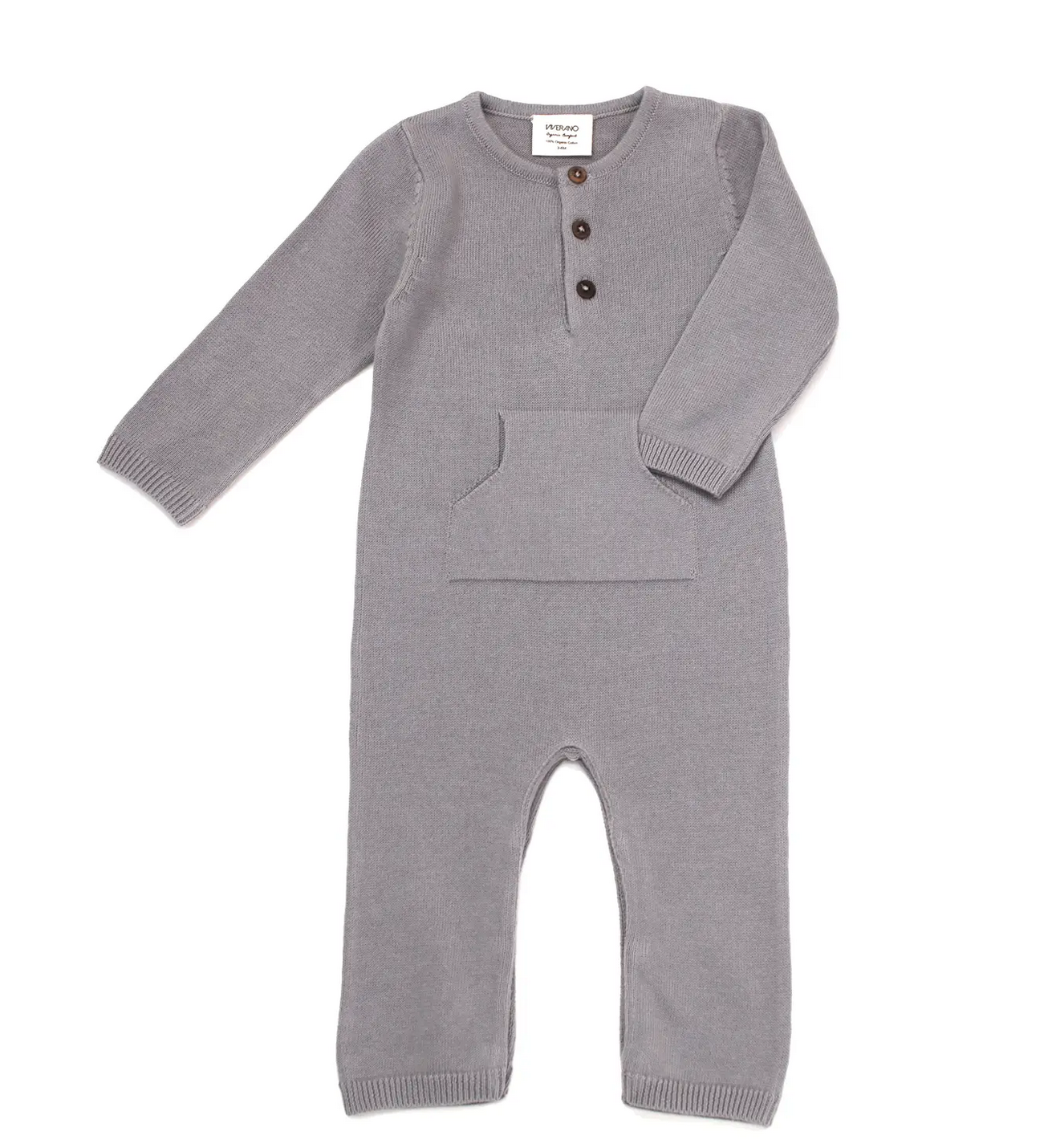 Sweater Knit Kangaroo Coverall Romper (Organic Cotton)  Grey