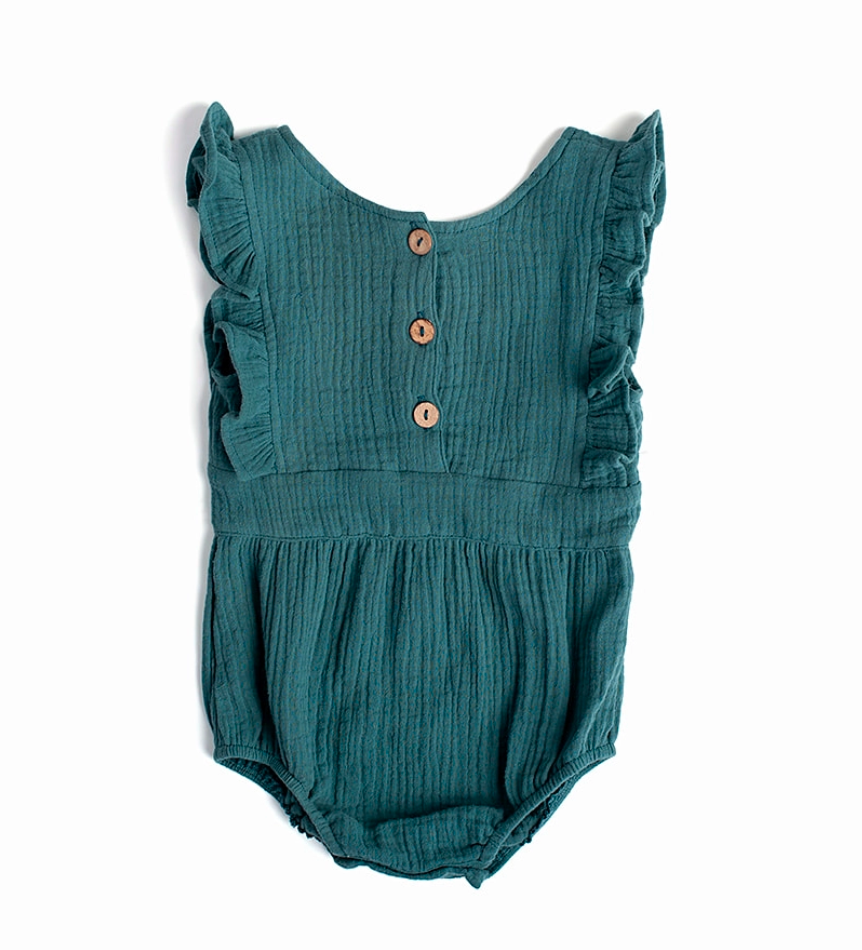 Backless Cotton Romper PEACOCK