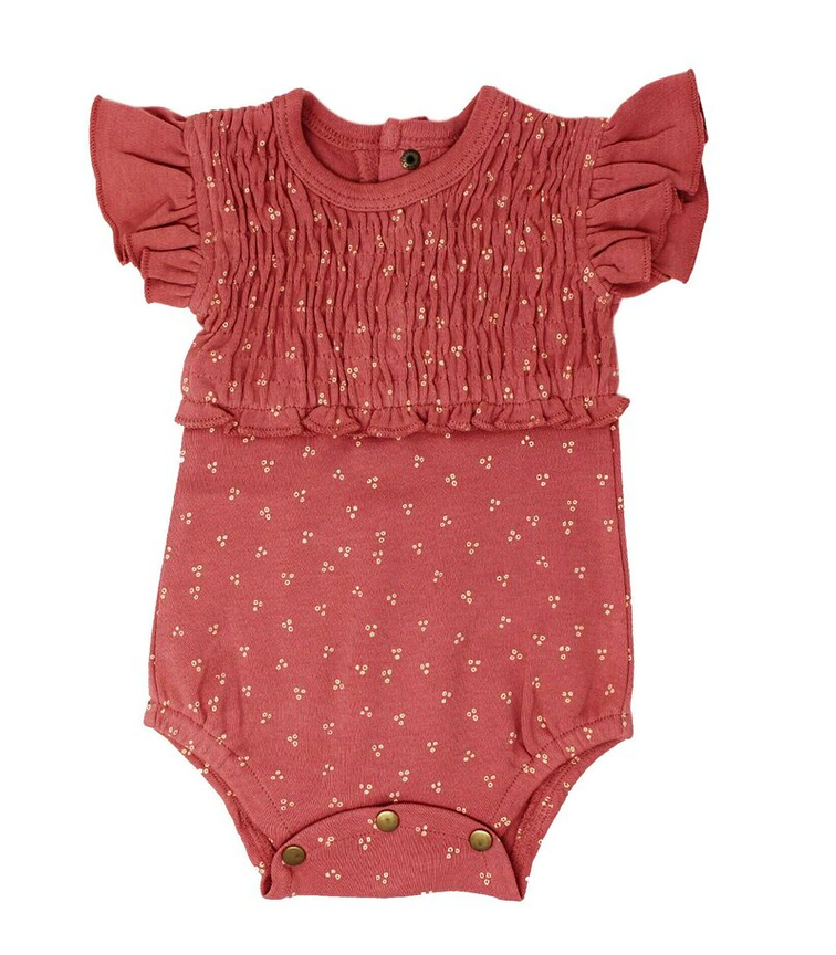 Smocked S/Sleeve Bodysuit in Sienna Dots