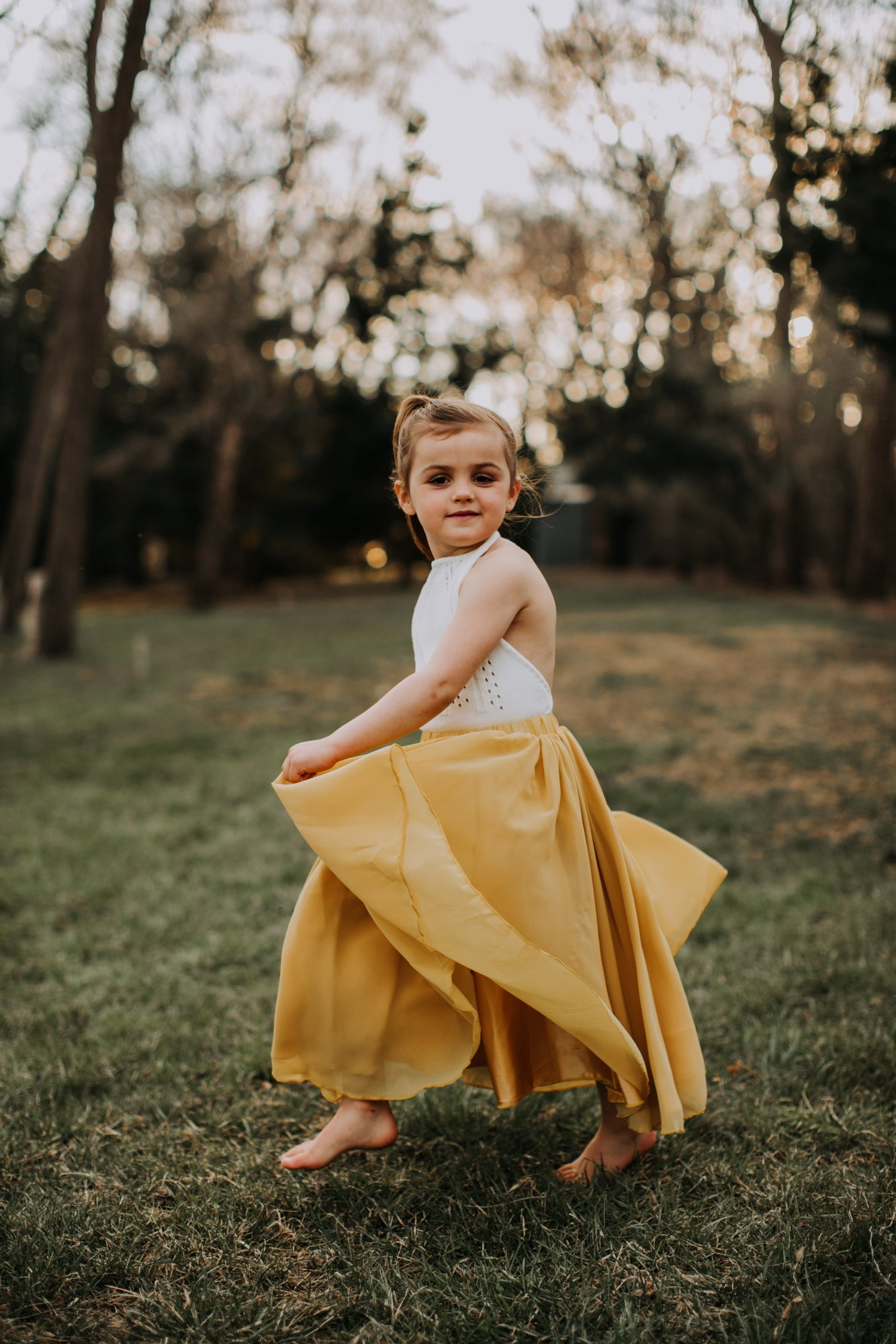 Floor Length Maxi Skirt - Mustard
