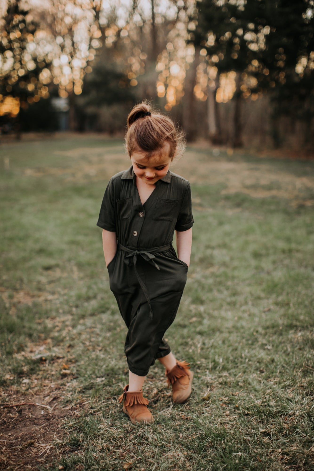 Harper Toddler  Jumpsuit - Forest Green