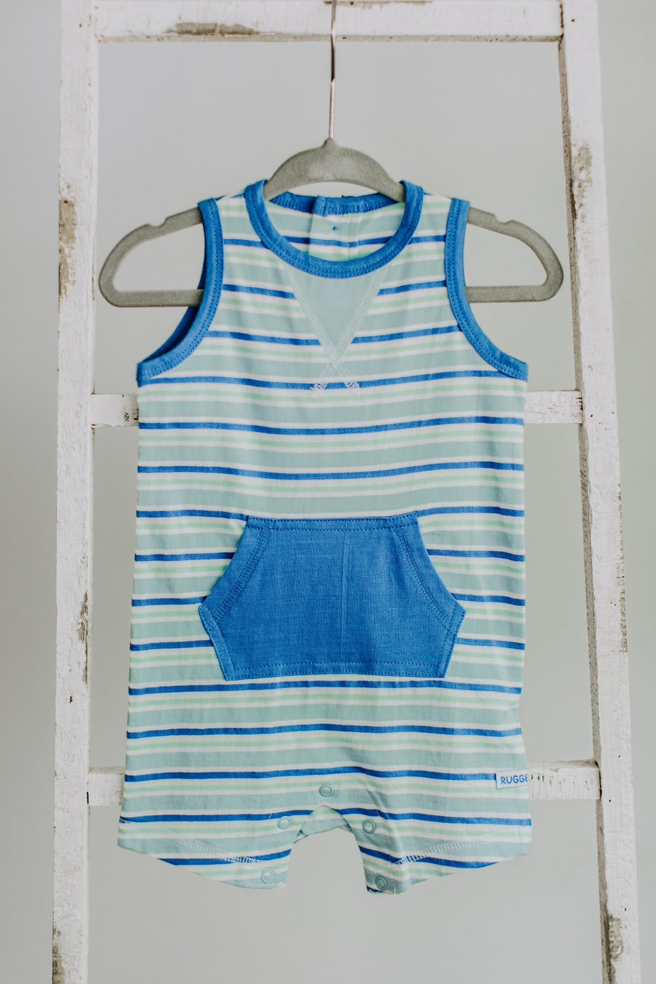 Blue & Neo Mint Stripe Romper