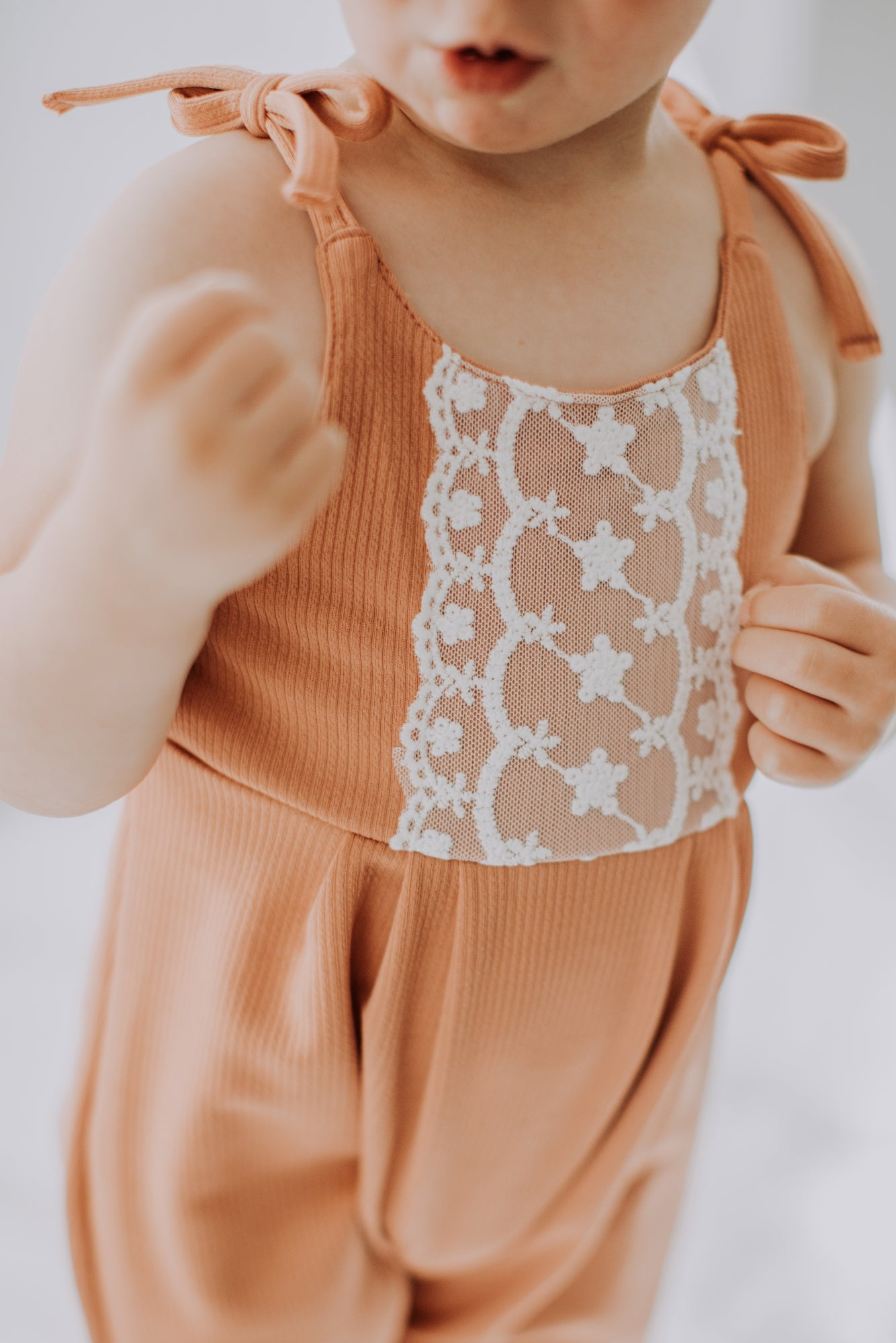 Clementine Tie Strap Bubble Jumpsuit - Faded Clay