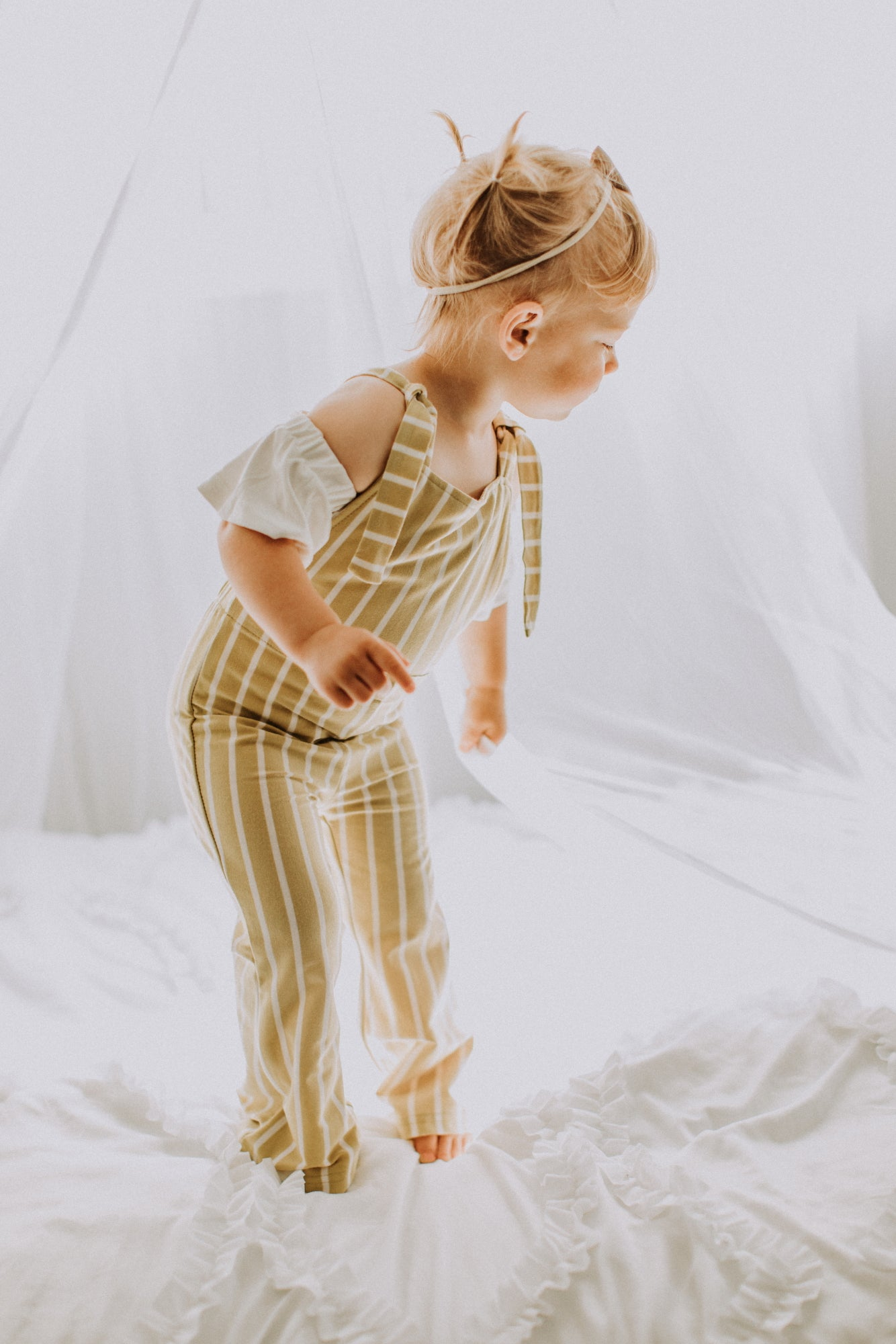 Suspender Bell Bottom Jumpsuit - Custard & White Stripe