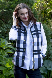 Rosey Vest by Dizzy Lizzy - Black/Gray Plaid