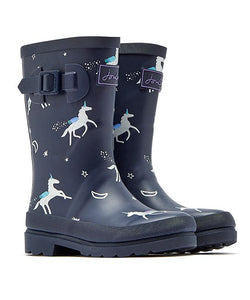 Joules® Girls Welly Navy Unicorns