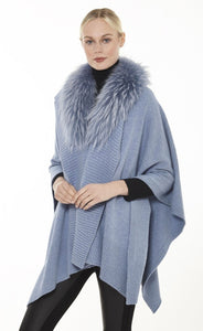 Knitted Cape with Fur Collar in Sky Blue