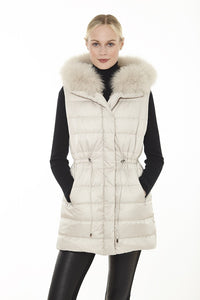 Down Long Vest with Fur Collar