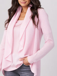 Cashmere Cardigan with Shawl Neck - Pink