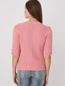 Short Puff Sleeve Sweater with Diagonal Fancy Rib Knit