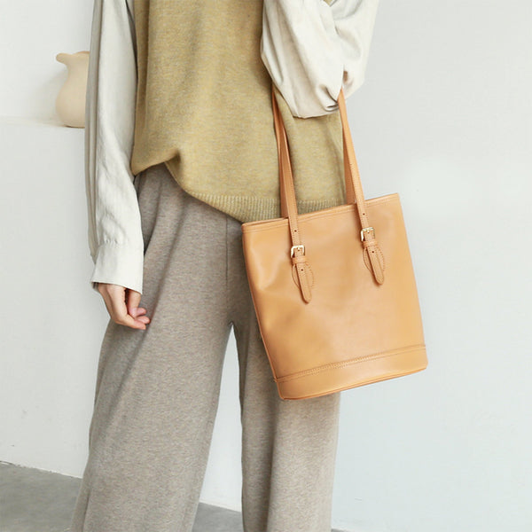 Leather Tote Shoulder Bag Handmade - Fitiny