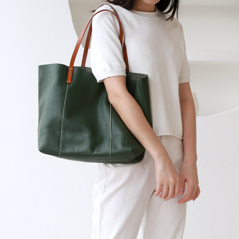 Leather Natural Handmade Tote Handbag - Fitiny