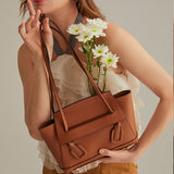Leather Tote Shoulder Bag Brown - Fitiny