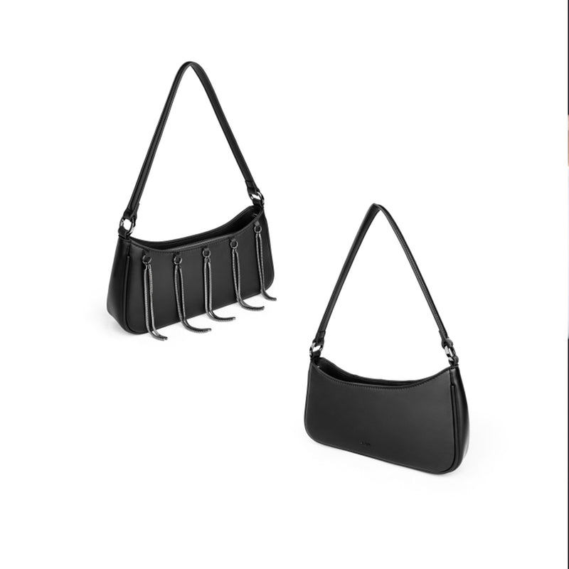 Black Leather Shoulder Bag Purse - Fitiny