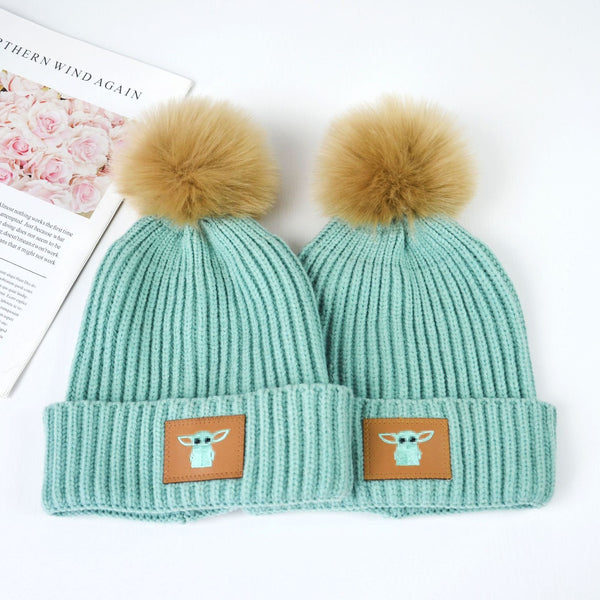 Children's knitted hat green woolen hat