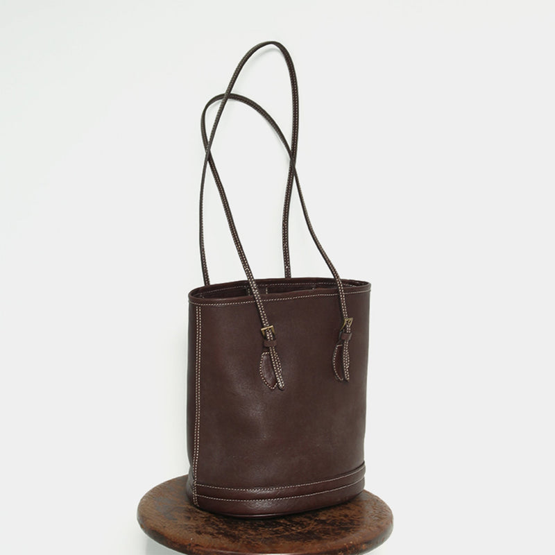 Leather Handbag Vintage Bucket Bag - Fitiny