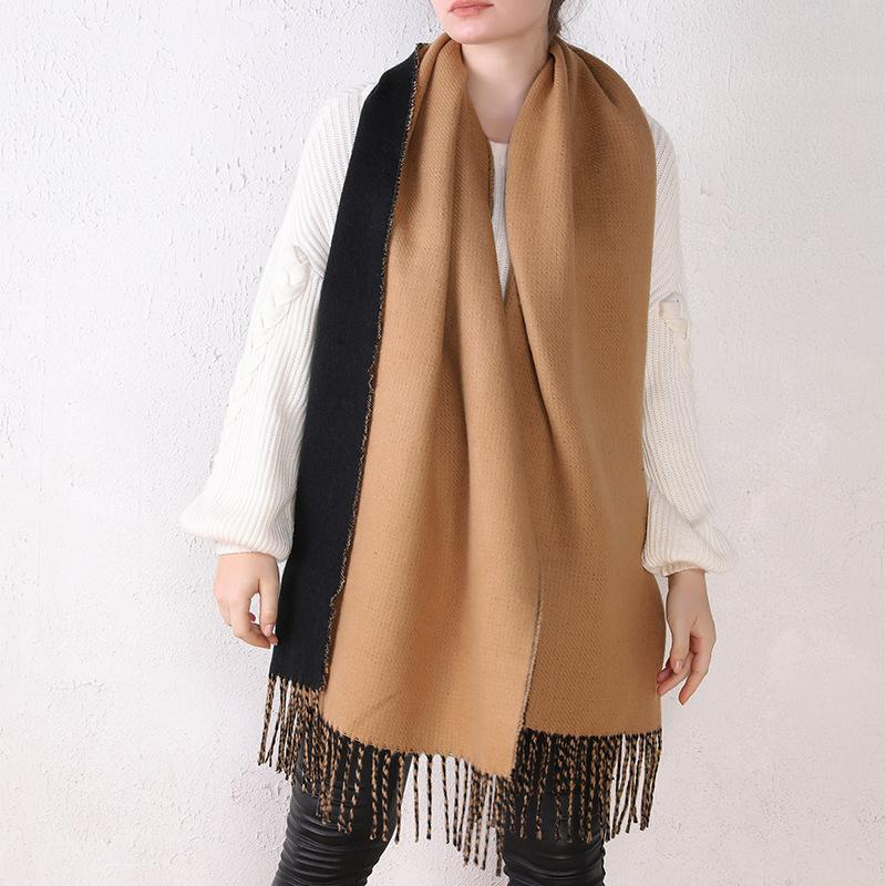 Cashmere-like Solid Color Double-sided Scarf Shawl