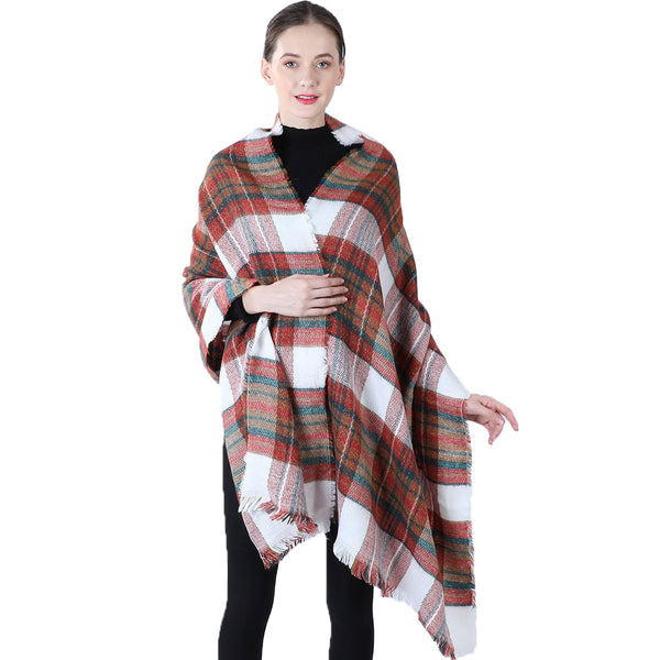 Cashmere plaid scarf shawl