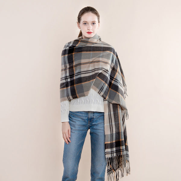 Warm plaid fringed scarf shawl