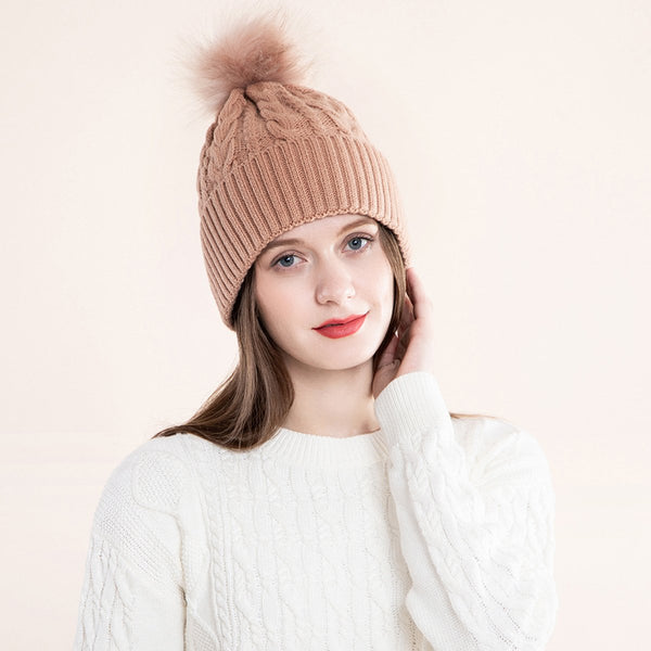 Women Knit Slouchy Hat with Faux Fur Pompom Winter Soft Warm Ski Cap