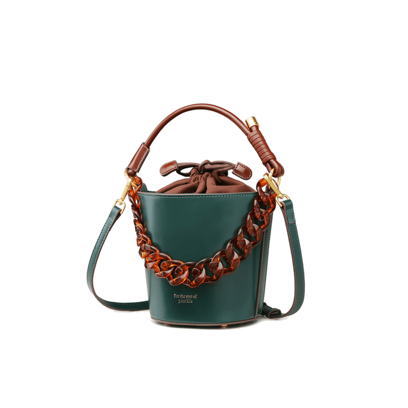 Leather Bucket Bag Crossbody Bag - Fitiny
