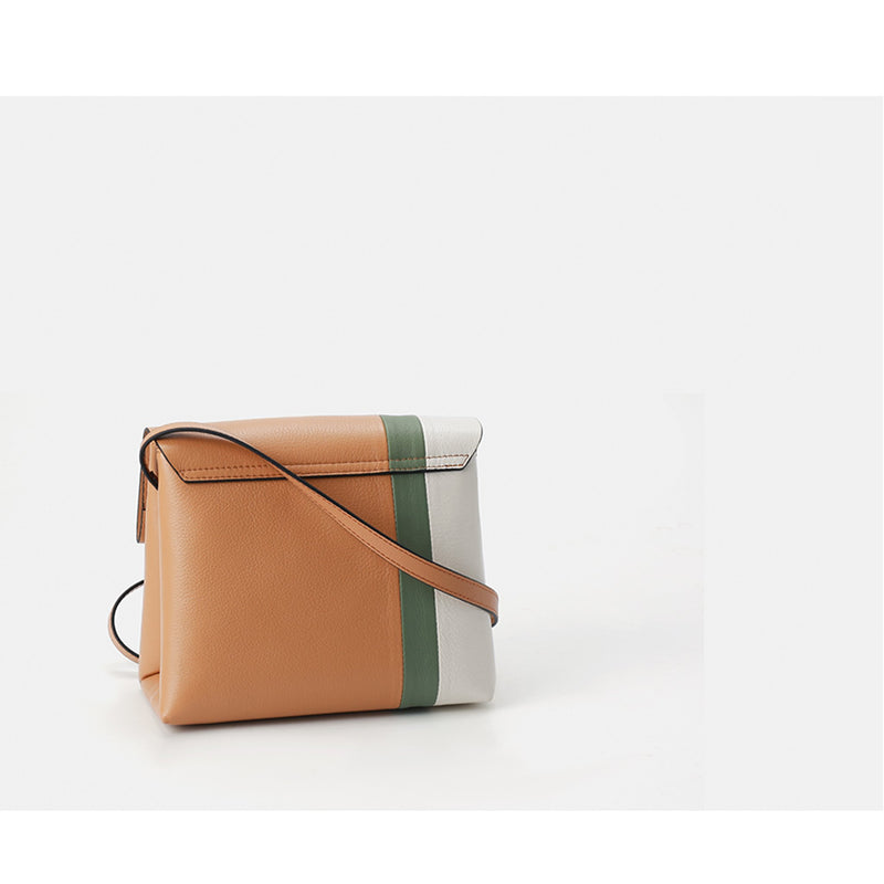 Contrasting Leather Messenger Bag - Fitiny