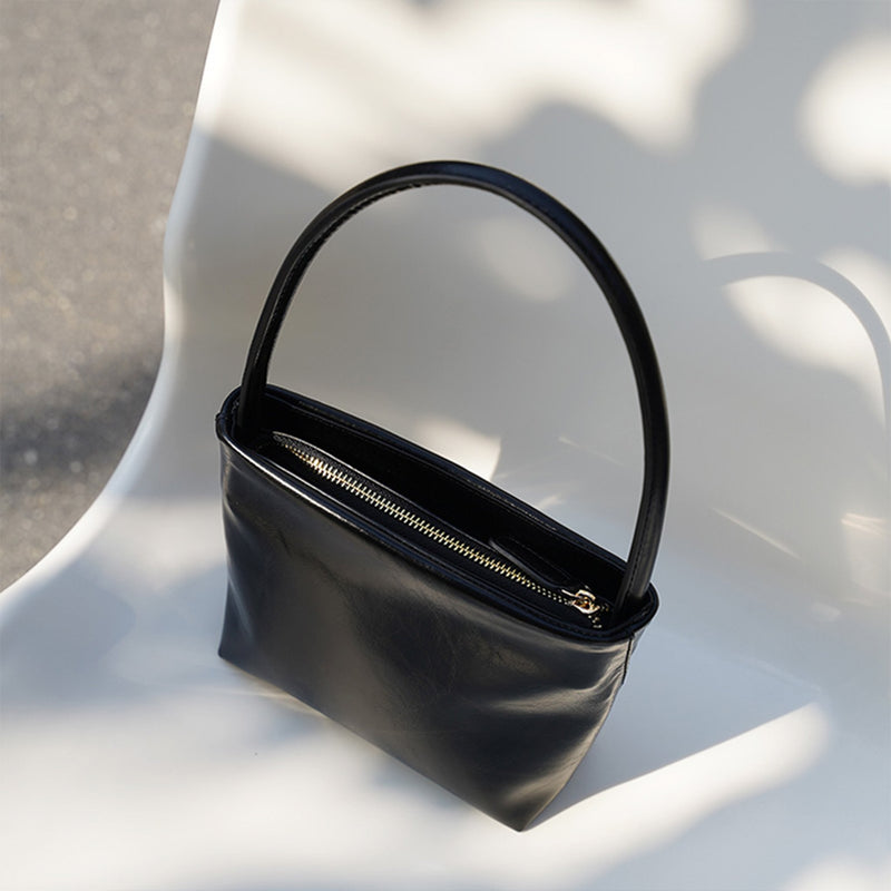 Leather Handbag Black - Fitiny