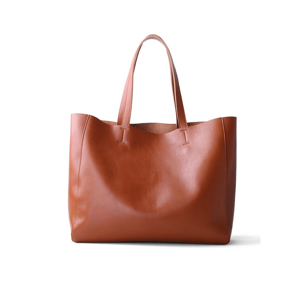 Leather Big Tote Shoulder Bag - Fitiny