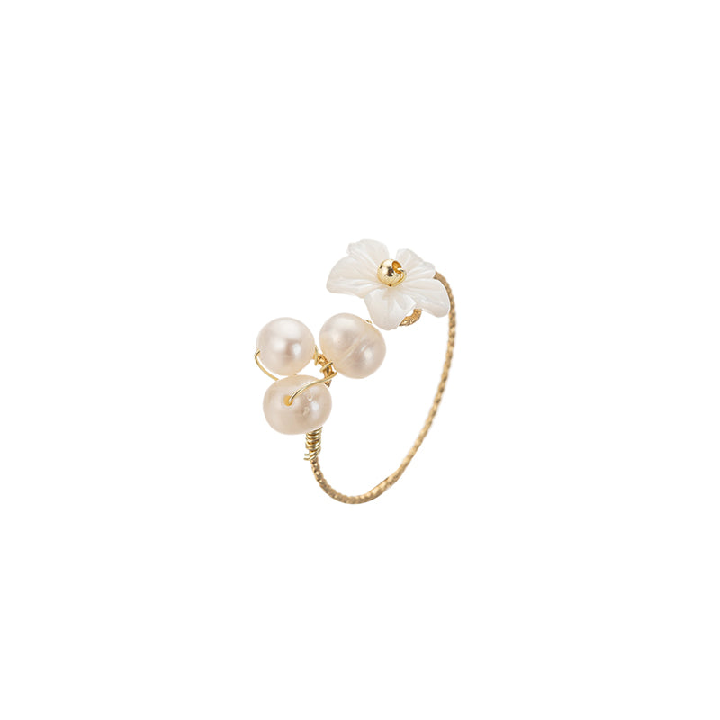 Pearl Shell Flower Index Finger Ring