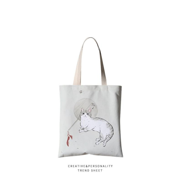 Cat hand drawn Handbag Canvas Bag 13.78*15.75inch