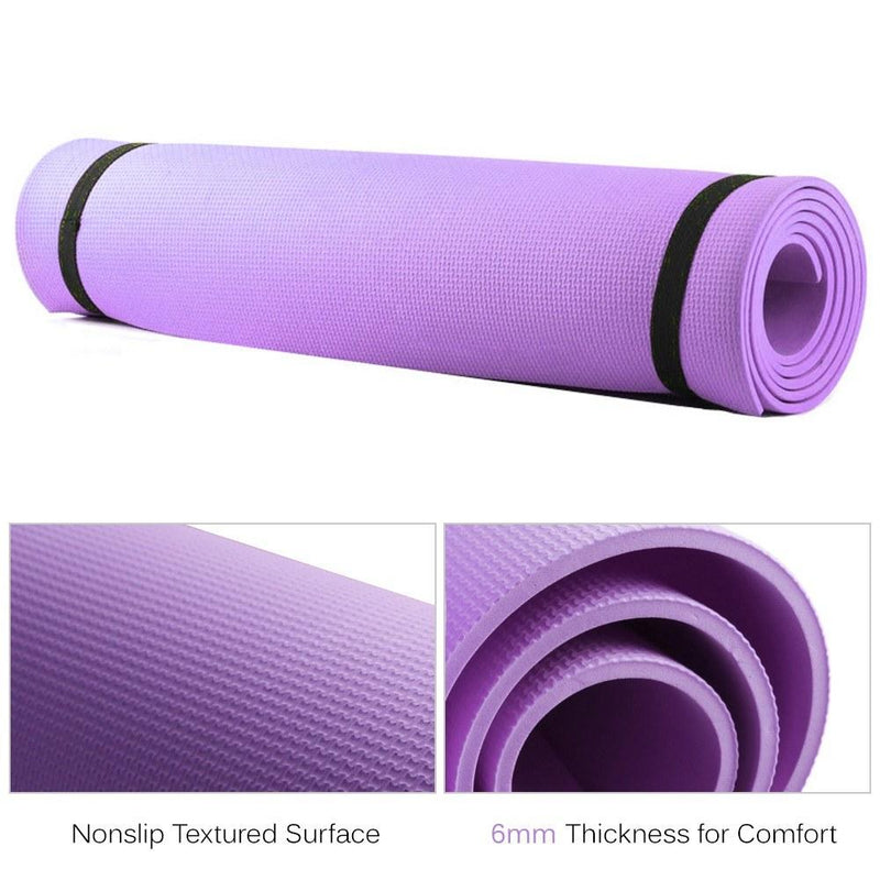 6mm Thick EVA Foam Yoga Mat Non Slip Yoga Pilates Exercise Fitness Mat 68X24 Inch - Fitiny