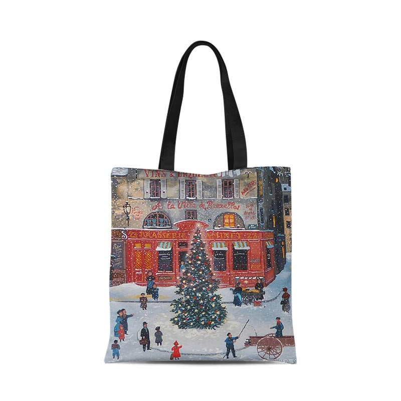 Christmas Single Shoulder Canvas Bag Environmental Folding Shopping Bag