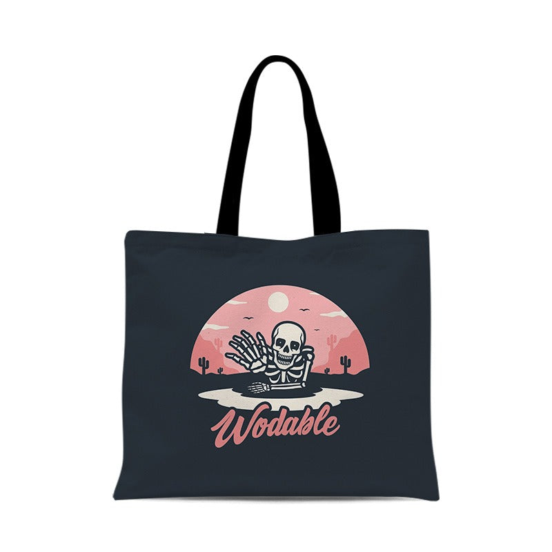 Retro skull illustration pattern canvas female bag