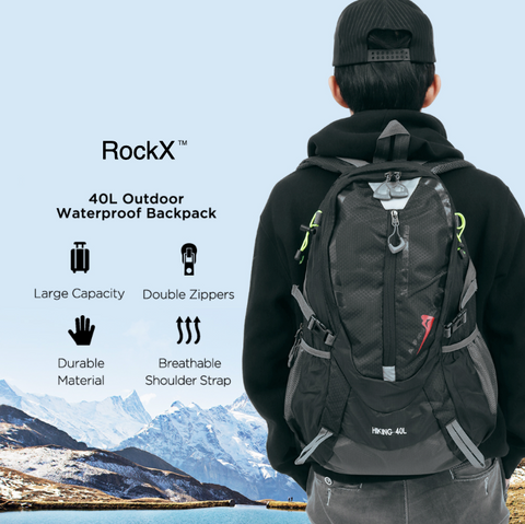 Best RockX™ Backpack - 40L Waterproof Nylon Unisex Sports or Travel Rucksack
